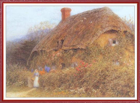 Helen Allingham. The girl near the cottage