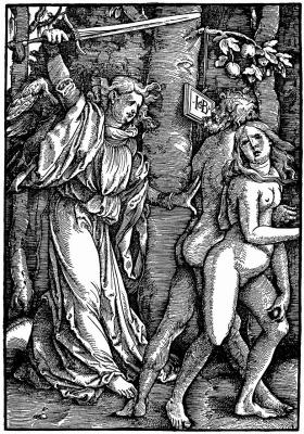 Ханс Бальдунг. Архангел Гавриил изгоняет Адама и Еву из Рая