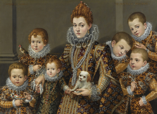 Lavinia Fontana. Portrait of Bianca degli Utili Maselli with her six children