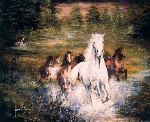 Хуан Фортуни. Кони скачут по ручью