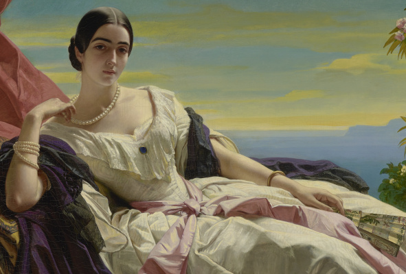 Franz Xaver Winterhalter. Grand Princess Leonilla of Sayn-Wittgenstein-Sayn, nee Baryatinsky. Fragment