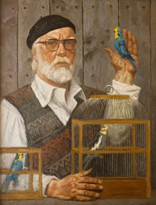 Heliy Mikhailovich Korzhev. Self portrait with parrots