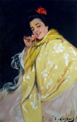 Ramon Casas i Carbó. Portrait of a spanish girl with flower