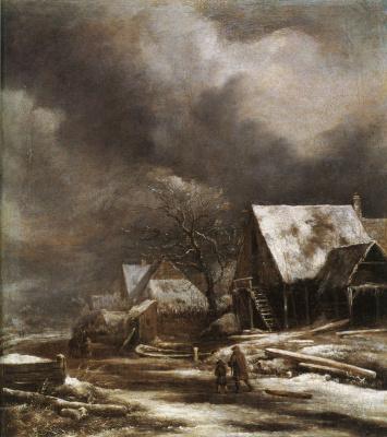Jakob van Isaacs Ruisdael. Winter village in the moonlight