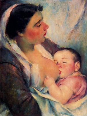 Педро Санчес. Мать кормит ребенка