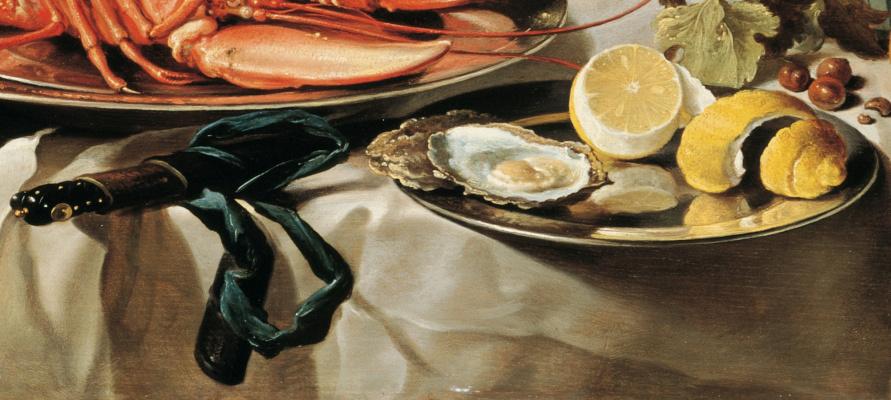 Питер Клас. Натюрморт с лобстером, кувшином, скрипкой, лимоном и ягодами. Фрагмент 4. Нож и устрицы с лимоном