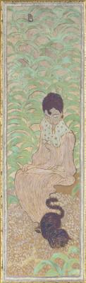 "Pierre Bonnard. ""Woman with a cat (series ""Women in the garden"")"""