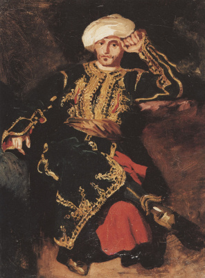 Эжен Делакруа. Сидящий мужчина в турецком костюме