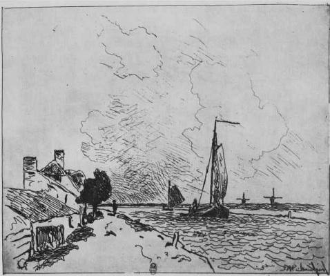 Ian Barthold Jongkinde. Two sailing boats