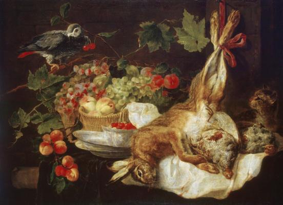 Ian Faith. Hare, fruit and parrot