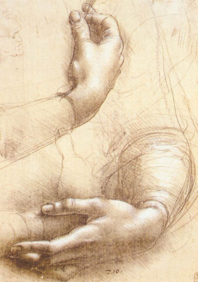 Leonardo da Vinci. Sketch of hands