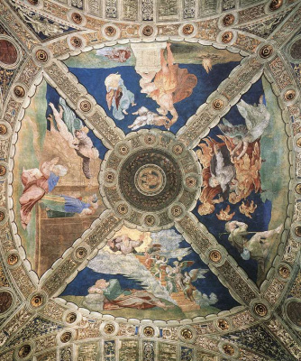 Raphael Sanzio. The stanza d Eliodoro. Painting the ceiling of the hall of the Palace of the Pope in the Vatican