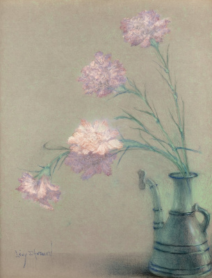 Lucien Levi-Durme. A bouquet of carnations in a vase.