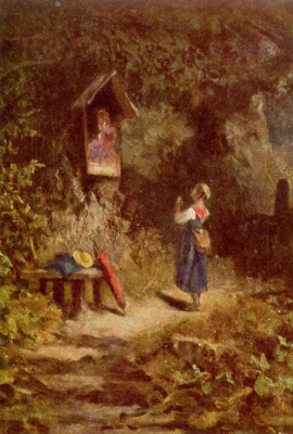 Karl Spitzweg. A peasant girl praying in the woods