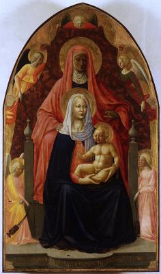 Tommaso Masaccio. Madonna and Child with St. Anne