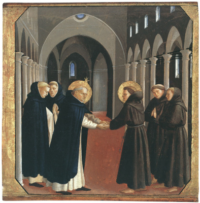Фра Беато Анджелико. Встреча святых Доминика и Франциска Ассизского. Около 1434–1435