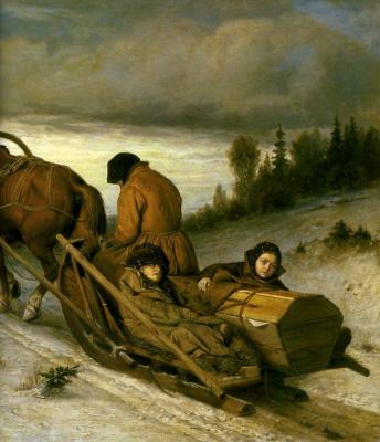 Vasily Grigorievich Perov. Seeing the dead. Fragment