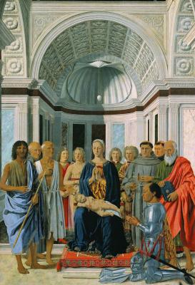 Madonna enthroned with saints and a donor, federigo da Montefeltro (Montefeltro Altarpiece)