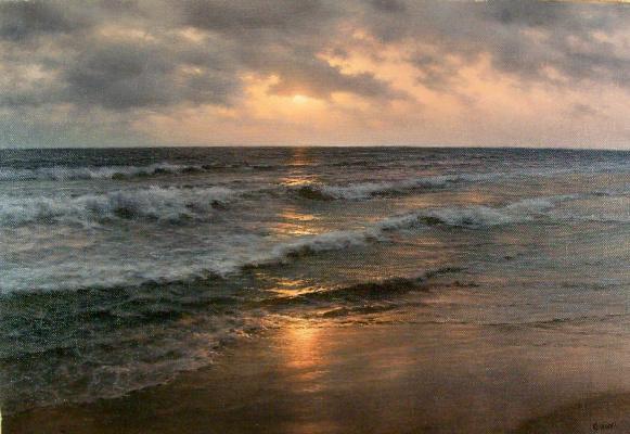 German Aleksandrovich Kulikov. Sunset in the Indian Ocean.