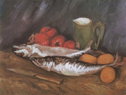 Винсент Ван Гог. Натюрморт со скумбриями, лимонами и томатами.