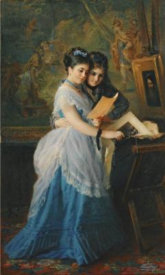Константин Егорович Маковский. Две девушки рассматривают иллюстрации