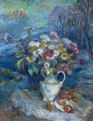 Давид Давидович Бурлюк. Цветы в белом кувшине