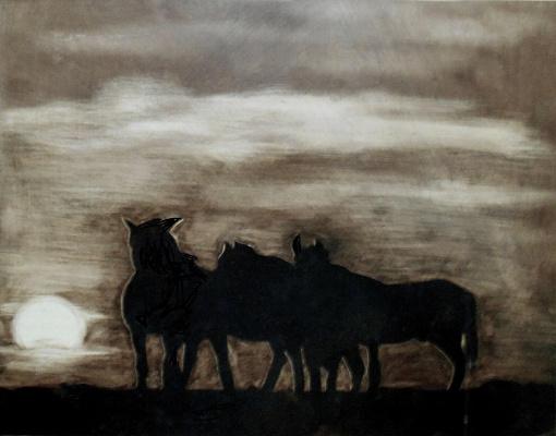 Kirichenko Semenovich Alexander. Horses at sunset