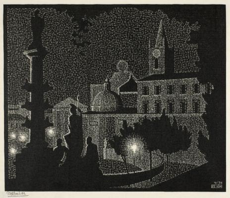 Maurits Cornelis Escher. Night Rome: Santa Maria del Popolo