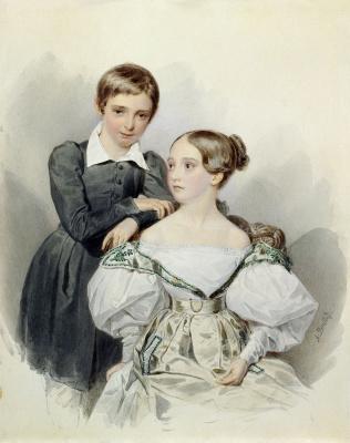 Portrait of Grand Duke Alexander Nikolaevich and Grand Duchess Maria Nikolaevna. After the 1830s