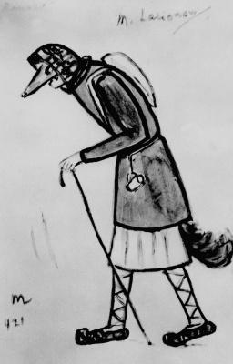 """Mikhail Larionov. Fox. Costume design for ballet I. Stravinsky """"Bike pro fox"""""""