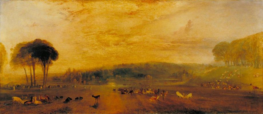 Joseph Mallord William Turner. Lake, Petworth, sunset, bodyshine deer