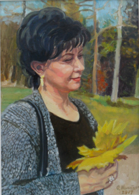 Olga Vladimirovna Mikhaylenko. Woman portrait with autumn leaves