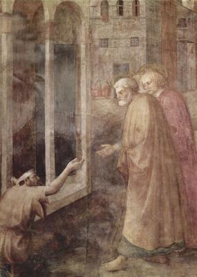 Томмазо Мазолино. Цикл фресок капеллы Бранкаччи в церкви Санта Мария дель Кармине во Флоренции, сцены из Жизни Петра, сцена: Исцеление Хромого