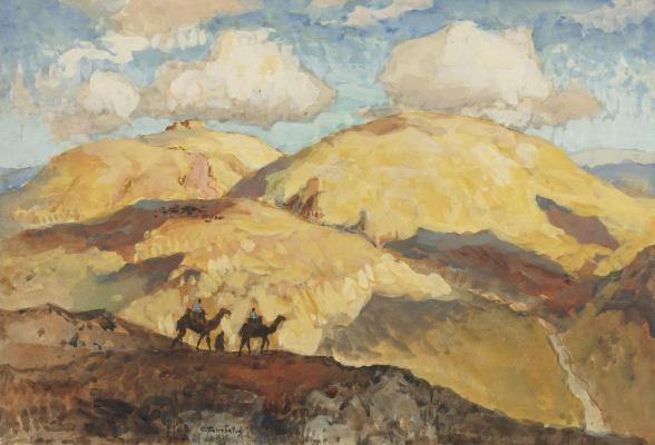 Konstantin Ivanovich Gorbatov. Walk on camels. 1935