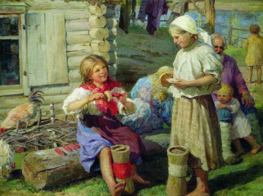 Федор Васильевич Сычков. У хаты. 1915