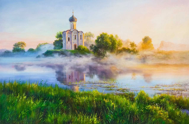 Alexander Romm. Church of the Intercession on the Nerl. On a foggy morning