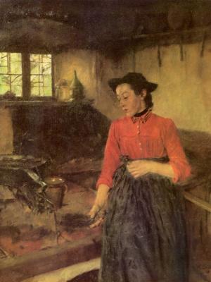 Вильгельм Мария Хубертус Лейбль. Девушка у очага