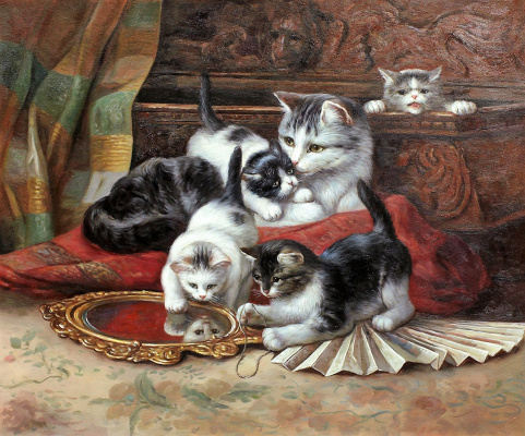 Savely Kamsky. A copy of Henrietta's oil painting Ronner-Knip Kittens playing with a fan