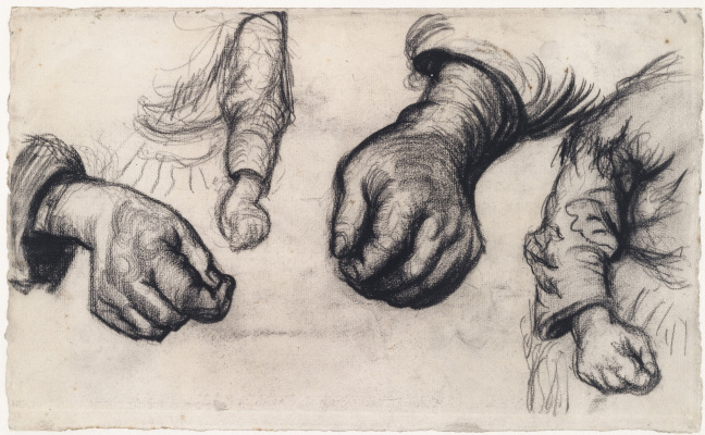 Vincent van Gogh. Two brushes and two hands