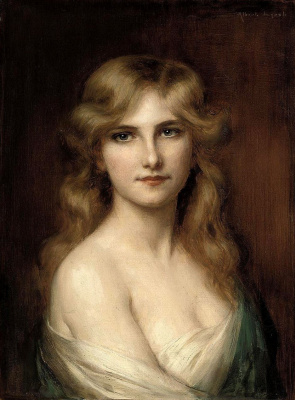 Albert Lynch 1851-1912 Peruvian artist. Young beauty.