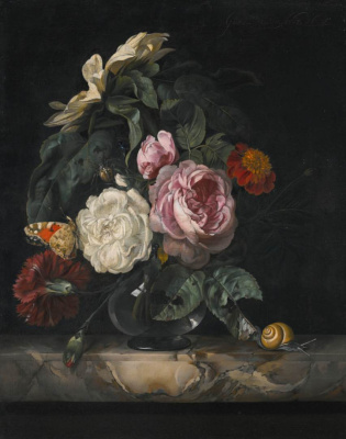 Willem van Aelst. Still life with flowers and butterfly