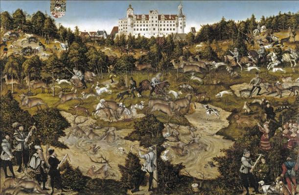 Lucas Cranach the Elder. Deer hunt in honour of Charles V near the castle in Torgau
