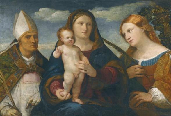 Джакомо Пальма Младший. Мадонна с младенцем, святая Катарина Сиенская и епископ