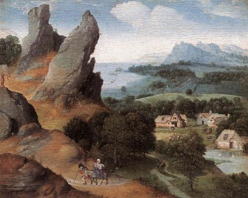 Иоахим Патинир. Пейзаж с бегством в Египет