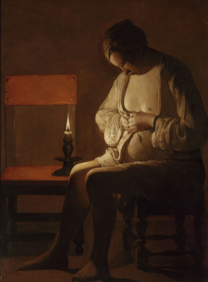Georges de La Tour. Woman catching a flea