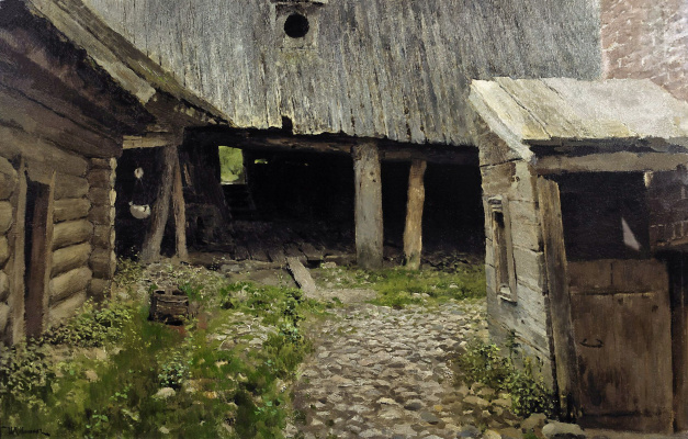 Isaac Levitan. The old courtyard. Etude