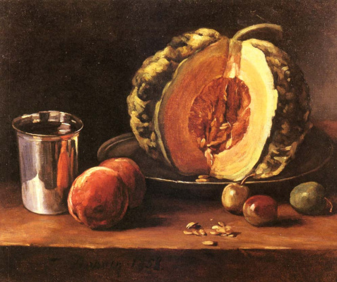 Francois Bonnen. Still life with pumpkin and peaches