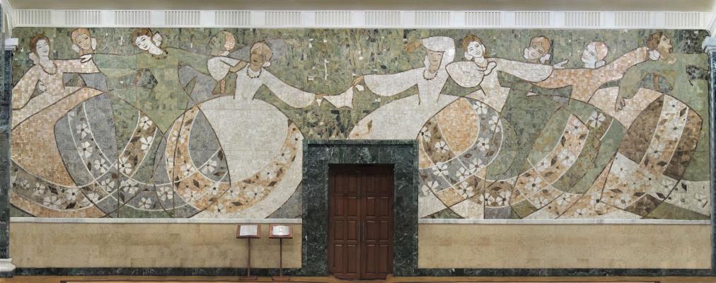 Alexandrovich Rudolf Pavlov. Dance suite, a stone panel in the Palace of Culture of Zheleznodorozhnikov, Chelyabinsk.