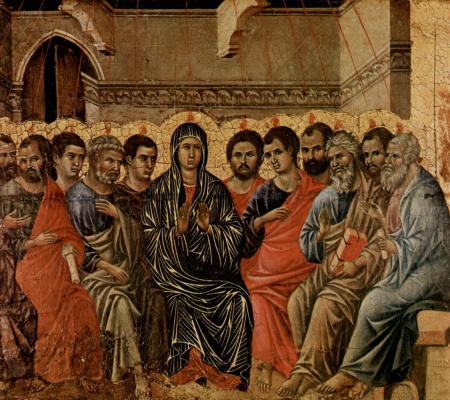 Duccio di Buoninsegna. The descent of the Holy spirit on the apostles