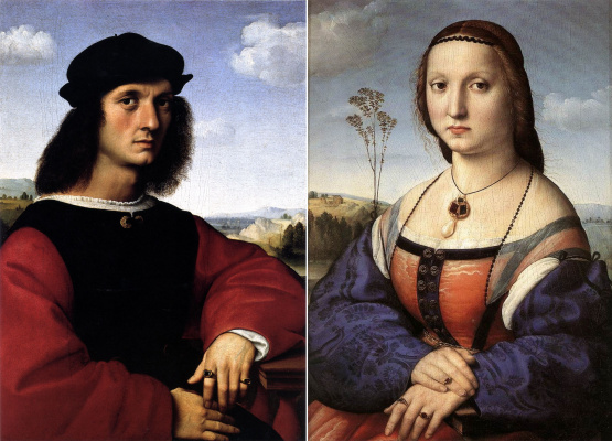 Raphael Santi. Doubles portrait of the spouses Doni (Portrait of Agnolo Doni. Portrait Of Maddalena Doni)